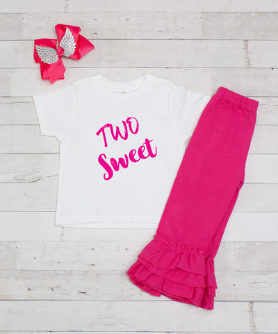 Two Sweet Birthday 3pc Shirt and Ruffle Pants Set