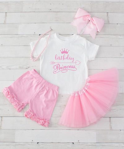 Birthday Princess - Birthday Light Pink 5pc T-Shirt, Shorts & Tutu Set