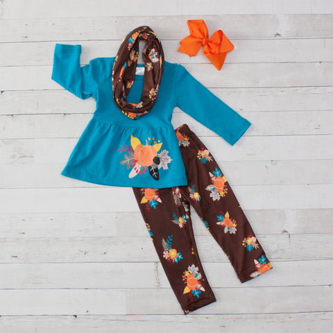 Turquoise Harvest A-Line Tunic Set - Top, Pants & Scarf