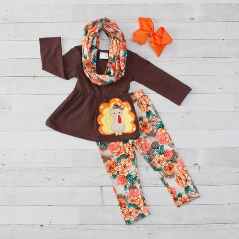 Brown with Orange Floral A-Line Tunic Set - Top, Pants & Scarf