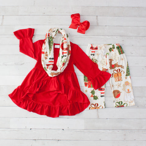 Happy Christmas Print A-Line Tunic Set - Top, Pants & Scarf