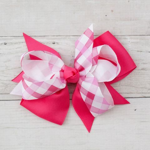 "6"" Hot Pink Gingham Grosgrain Hair Bow Clip"
