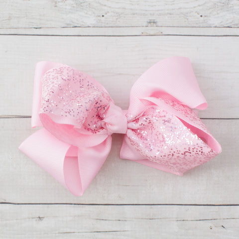 "6"" Pink Sparkly Grosgrain Hair Bow Clip"