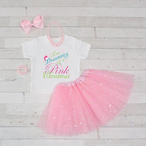 Pink Christmas 5pc Shirt and Tutu Set - Pink