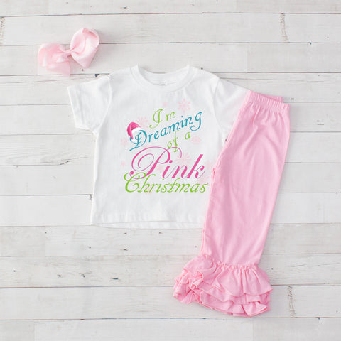 Pink Christmas 3pc Shirt and Ruffle Pants Set - Pink