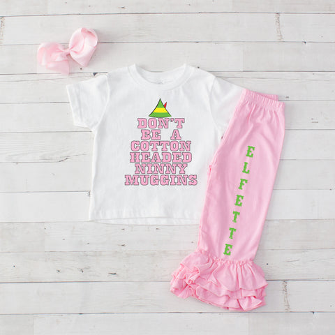 Cotton Headed Ninny Muggins 3pc Shirt and Ruffle Pants Set - Pink