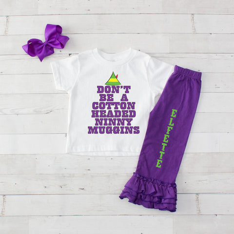 Cotton Headed Ninny Muggins 3pc Shirt and Ruffle Pants Set - Purple