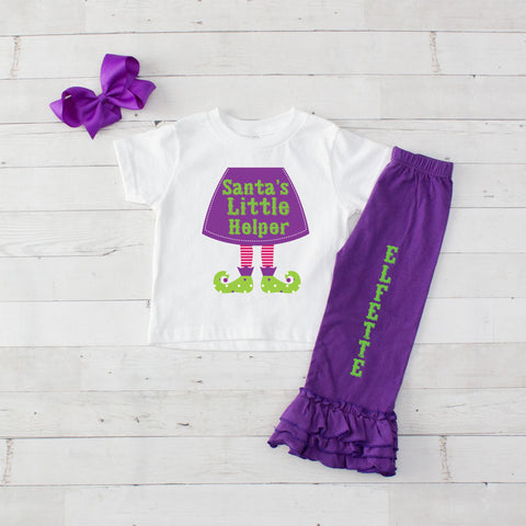 Santa's Little Helper 3pc Shirt and Ruffle Pants Set - Purple