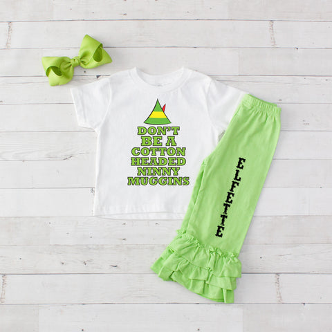 Cotton Headed Ninny Muggins 3pc Shirt and Ruffle Pants Set - Lime