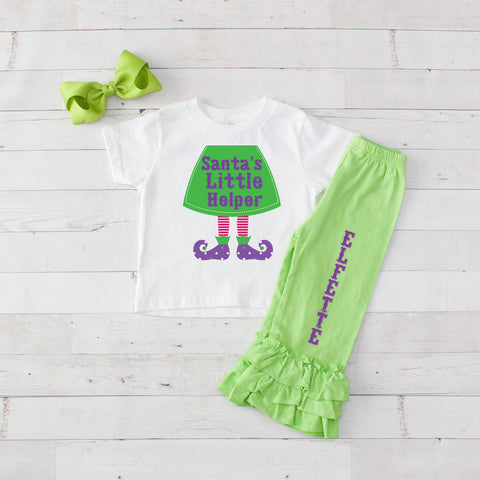 Santa's Little Helper 3pc Shirt and Ruffle Pants Set - Lime