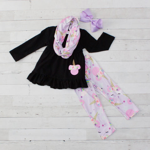 Unicorn Minnie A-Line Tunic Set - Top, Pants & Scarf