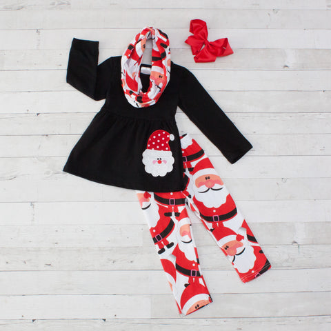 Santa Claus A-Line Tunic Set - Top, Pants & Scarf
