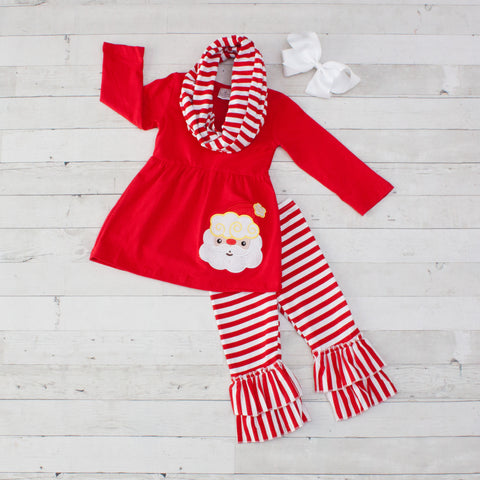Santa with Stripes A-Line Tunic Set - Top, Pants & Scarf