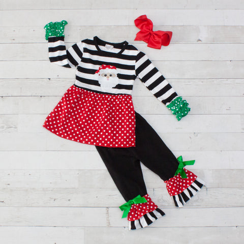 Santa Stripes and Polka Dot A-Line Tunic Set - Top & Pants