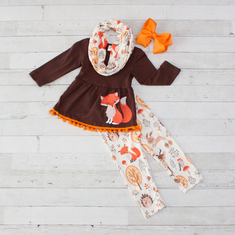 Little Fox Thanksgiving 3pc Set with Fringe A-Line Tunic Set - Top, Pants & Scarf