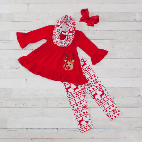 Red & White Reindeer A-Line Tunic Set - Top, Pants & Scarf