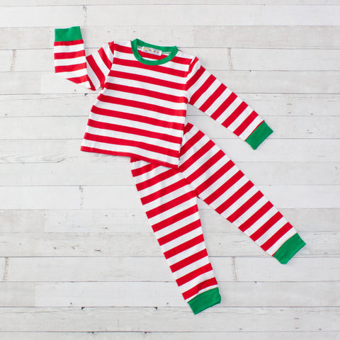Striped Long Sleeve Pajamas - Top & Pants