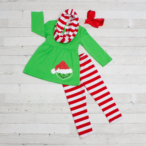 Green Grinch 3pc Set A-Line Tunic Set - Top, Pants & Scarf