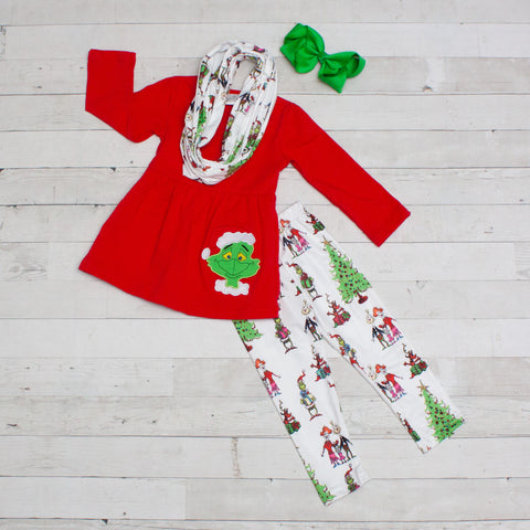 The Grinch and The Who's 3pc Set with Fringe A-Line Tunic Set - Top, Pants & Scarf
