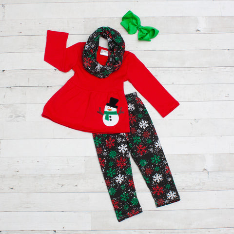 Snowman 3pc Set A-Line Tunic Set - Top, Pants & Scarf