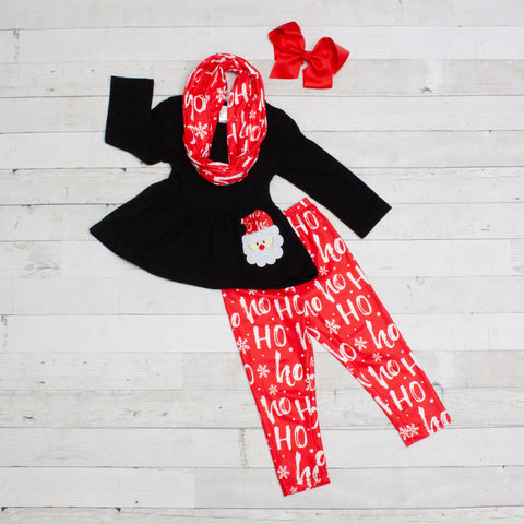 Ho Ho Ho Santa 3pc Set A-Line Tunic Set - Top, Pants & Scarf