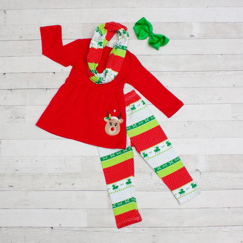 Boho Reindeer 3pc Set A-Line Tunic Set - Top, Pants & Scarf