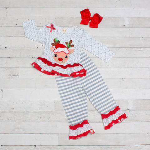 Christmas Reindeer A-Line Tunic Set - Top & Pants