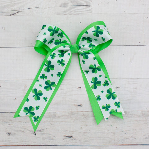 "Lucky Clover Long Tail 8"" Grosgrain Bow - Lime"