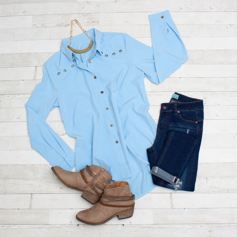 Light Blue Long Sleeve Button Detail Blouse