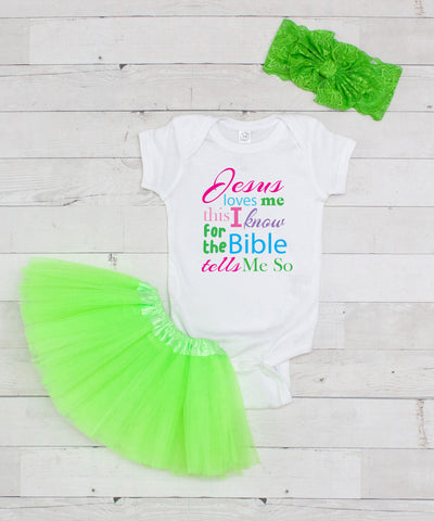 Jesus Loves Me Bodysuit - Graphic T-Shirt & Lime Tutu Set