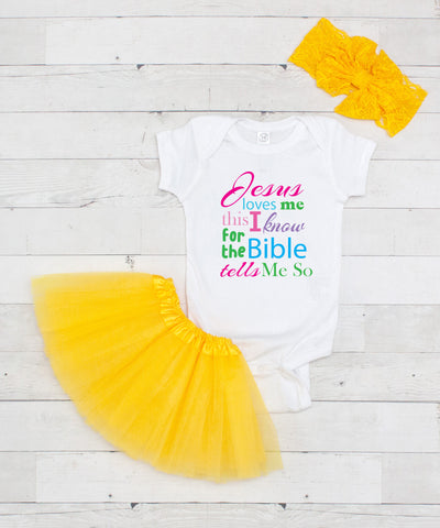 Jesus Loves Me Bodysuit - Graphic T-Shirt & Yellow Tutu Set