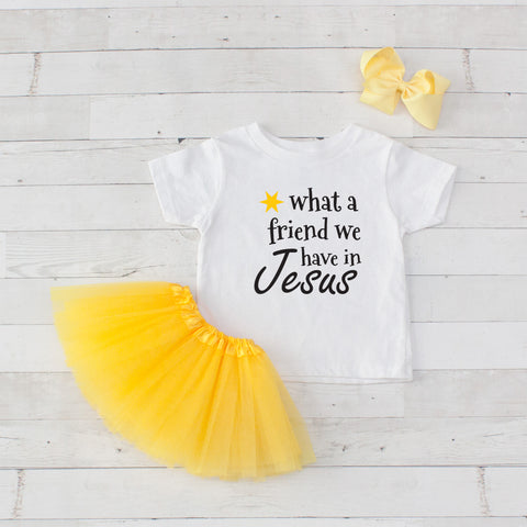 What a friend we have in Jesus - Graphic T-Shirt & Yellow Tutu Set