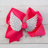 "6"" Angel Wing Grosgrain Hair Bow Clip - 7 Colors"