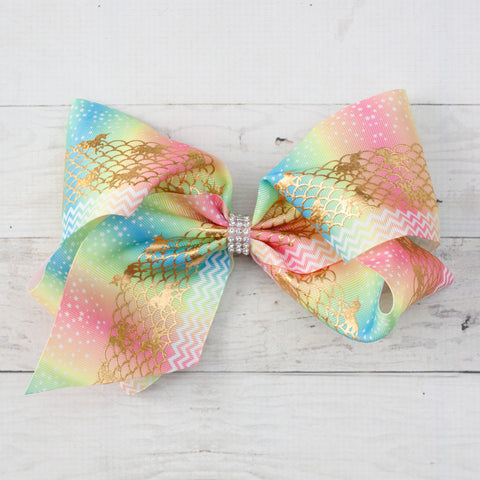 "Mythical Pastel 8"" Big Hair Bow Clip"