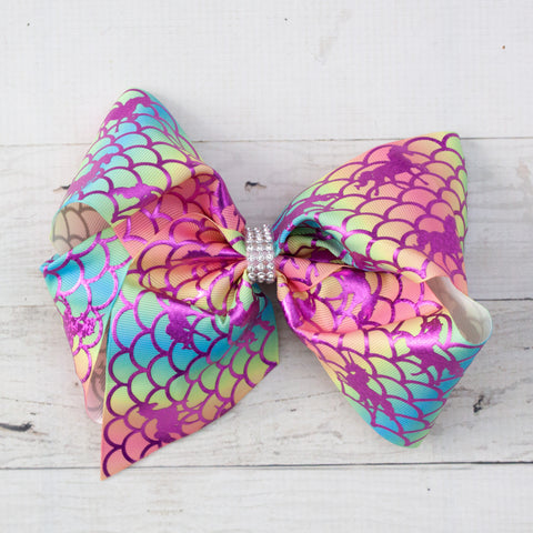 "Mythical Purple & Pastel 8"" Big Hair Bow Clip"