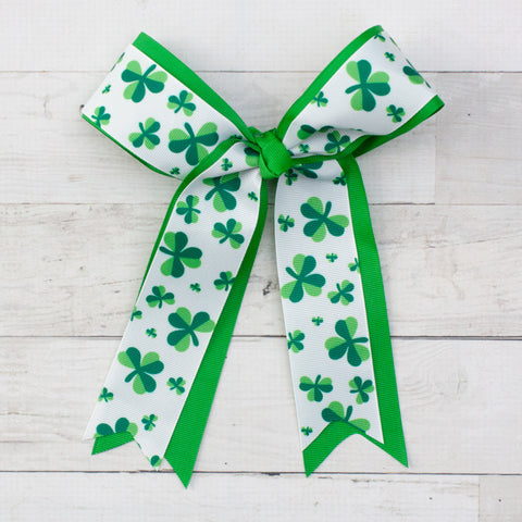 "Lucky Clover Long Tail 8"" Grosgrain Bow - Green"