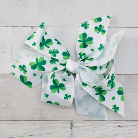 "Lucky Big Clovers Boutique 7"" Grosgrain Bow"