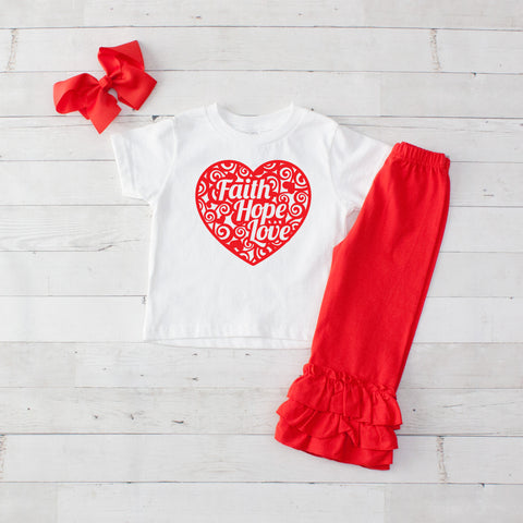 Faith Hope Love Heart - 3pc Shirt and Ruffle Pants Set Red
