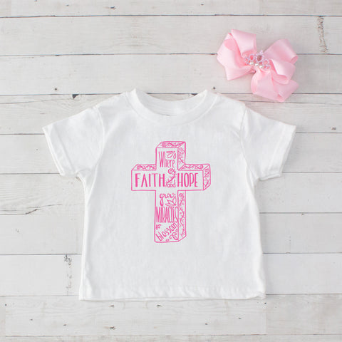 Where Faith and Hope grow Miracles blossom - Graphic T-Shirt & Bow Set
