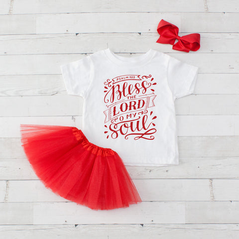 Bless The Lord O My Soul - Graphic T-Shirt & Red Tutu Set