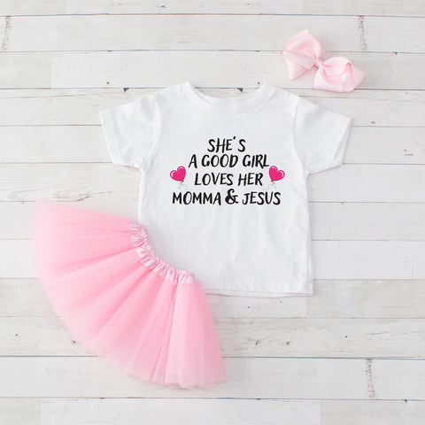 She's A Good Girl Loves Her Momma & Jesus - Graphic T-Shirt & Light Pink Tutu Set