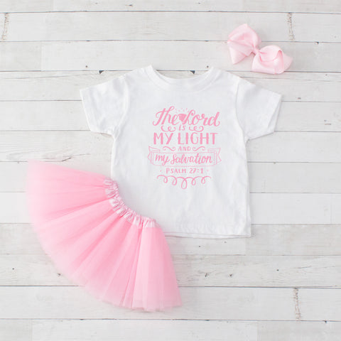 The Lord is My Light and My Salvation - Graphic T-Shirt & Light Pink Tutu Set