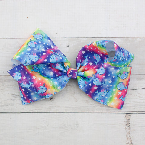 "Rainbow Narwhal 8"" Big Hair Bow Clip"