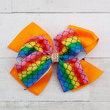 "6"" Bright Rainbow Mermaid Grosgrain Hair Bow Clip - 7 Colors"