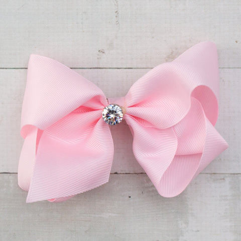 "6"" Pink Big Hair Bow with Large Rhinestone Center"