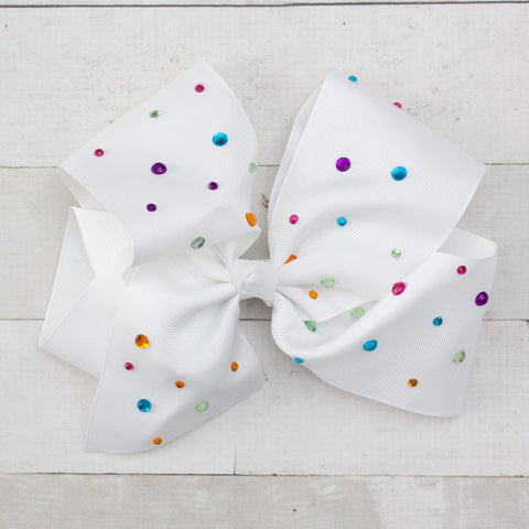 "8"" White Big Hair Bow with Rainbow Rhinestones"