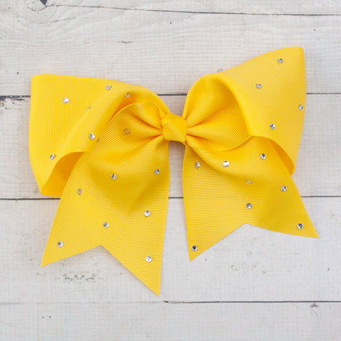 "8"" Yellow Big Hair Bow with Rhinestones"