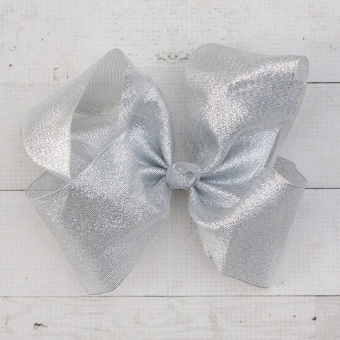 "8"" Shimmery Organza Silver Big Hair Bow"
