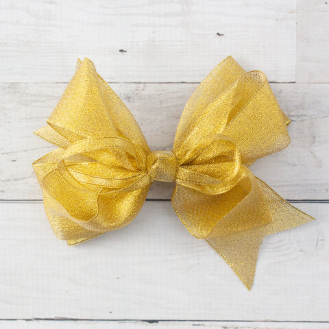 "6"" Shimmery Organza Gold Hair Bow"