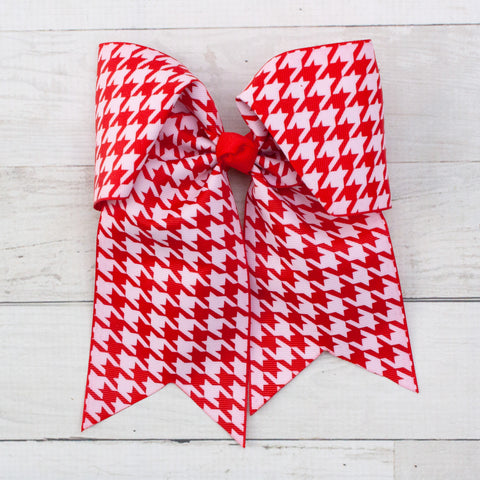"8"" Red & White Houndstooth Long Tail Hair Bow"